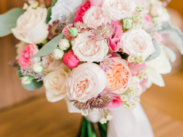 pastel bridal bouquet peonies and roses