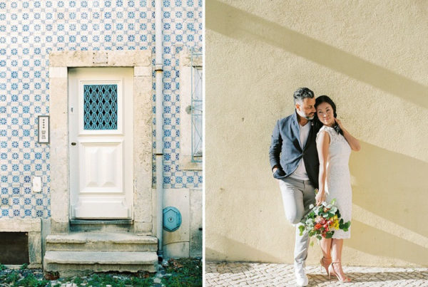 Tiles, door and passionate couple
