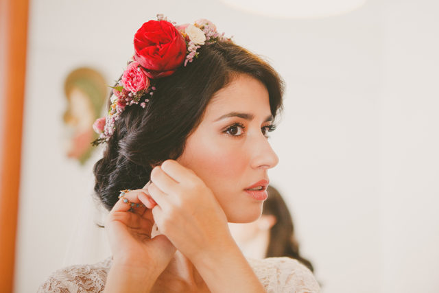 Bridal Headpiece, Rose and Red