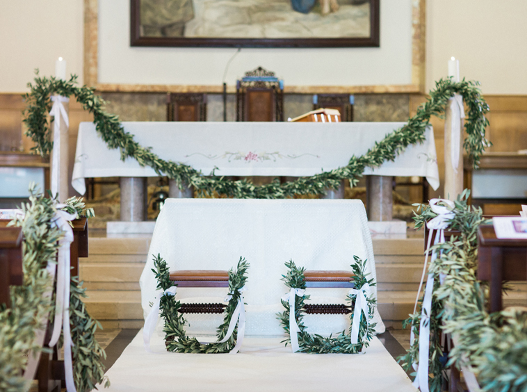 Boho Chic wedding bench church and altar decoration