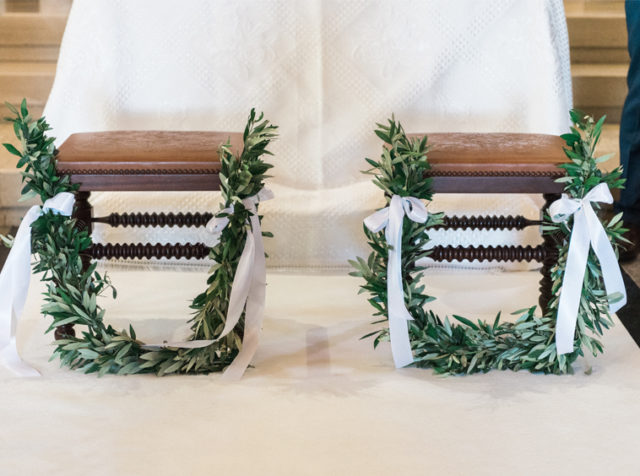 Boho Chic wedding bench church decoration
