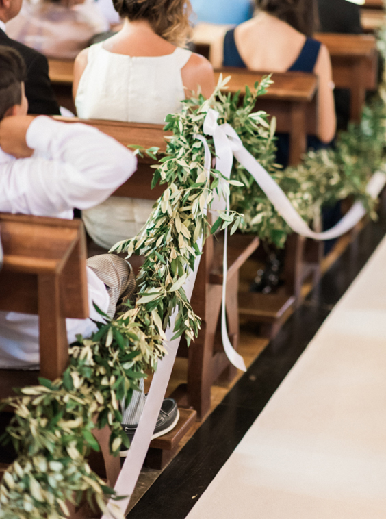 Boho Chic wedding church benches decoration