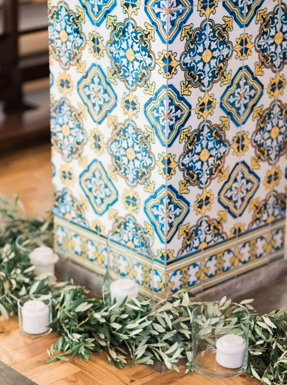 Boho Chic wedding church floral decoration details