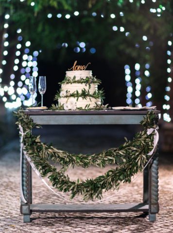 Boho Chic wedding cake table floral decoration