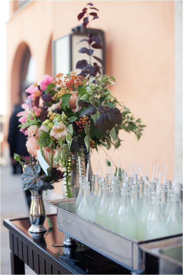 Reception flowers and lemonade