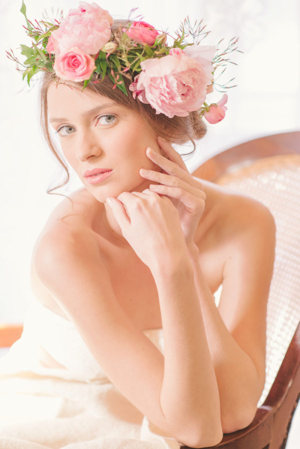 boudoir editoral soft pink headpiece with peonies