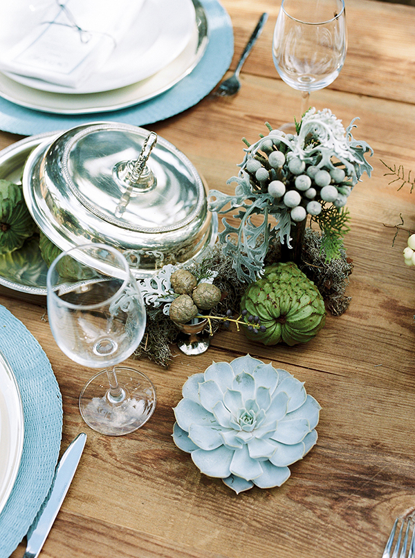 succulents details in a reception table