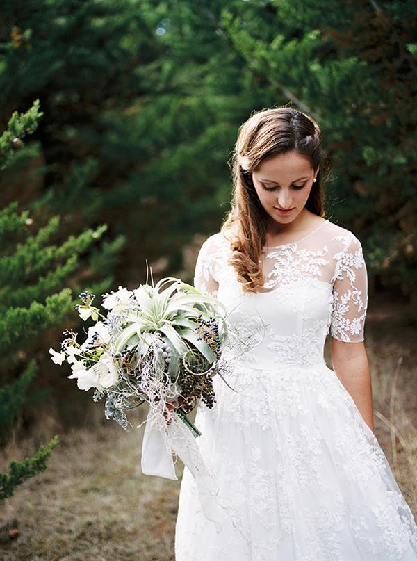 succulent and anemone bridal bouquet