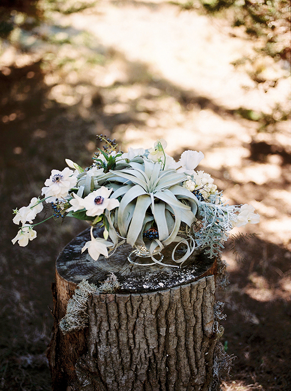 anemone and succulent forest themed centerpiece