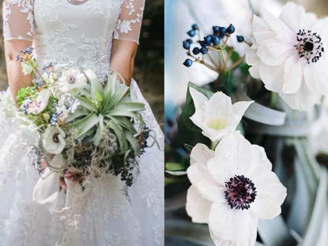 anemone and succulent wedding bouquet