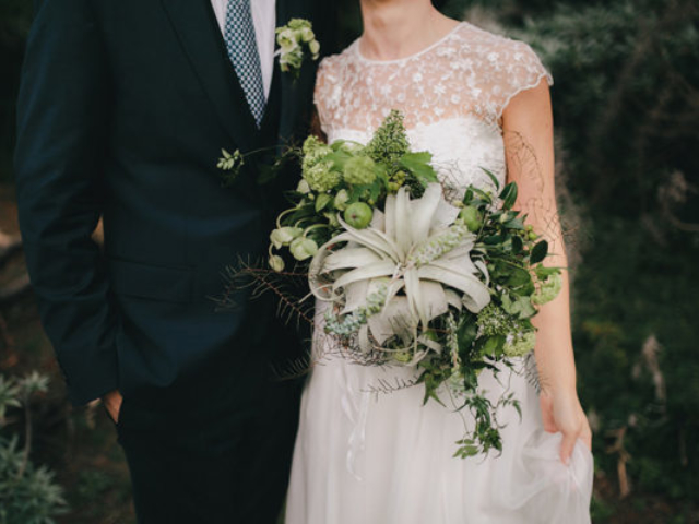 greenery suculents wedding bouquet, boutoniere and headpieces